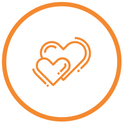 Heart shaped reviews icon